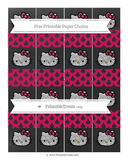 Free Ruby Pink Fish Scale Pattern Chalk Style Hello Kitty Paper Chains