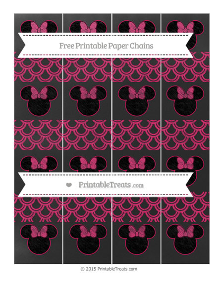 Free Ruby Pink Fish Scale Pattern Chalk Style Minnie Mouse Paper Chains