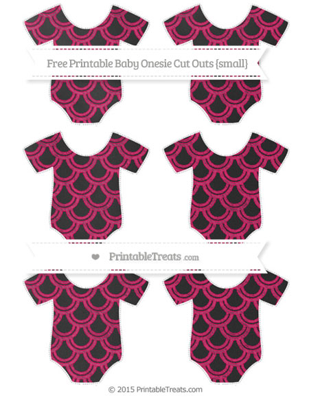 Free Ruby Pink Fish Scale Pattern Chalk Style Small Baby Onesie Cut Outs