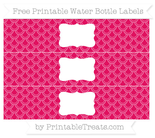 Free Ruby Pink Fish Scale Pattern Water Bottle Labels