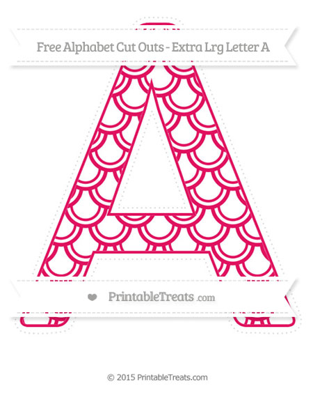 Free Ruby Pink Fish Scale Pattern Extra Large Capital Letter A Cut Outs