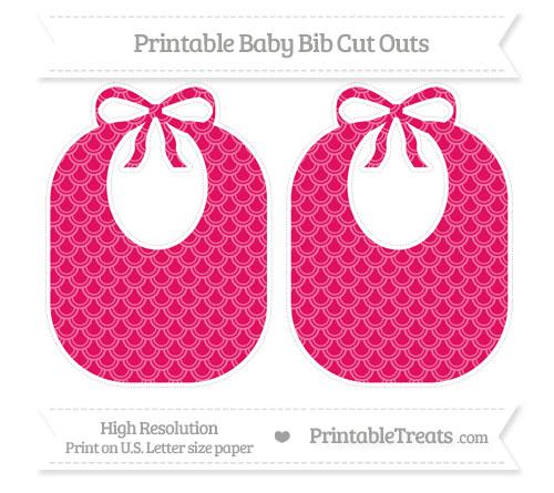 Free Ruby Pink Fish Scale Pattern Large Baby Bib Cut Outs