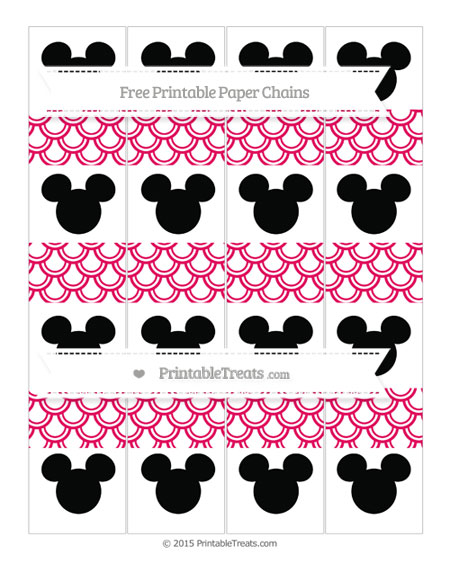 Free Ruby Pink Fish Scale Pattern Mickey Mouse Paper Chains