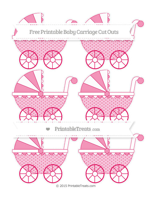 Free Ruby Pink Fish Scale Pattern Small Baby Carriage Cut Outs