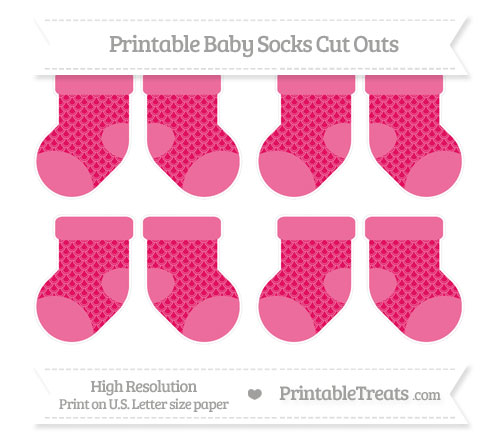 Free Ruby Pink Fish Scale Pattern Small Baby Socks Cut Outs