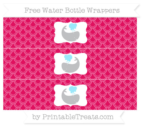 Free Ruby Pink Fish Scale Pattern Whale Water Bottle Wrappers