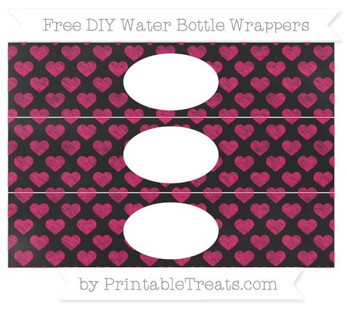 Free Ruby Pink Heart Pattern Chalk Style DIY Water Bottle Wrappers