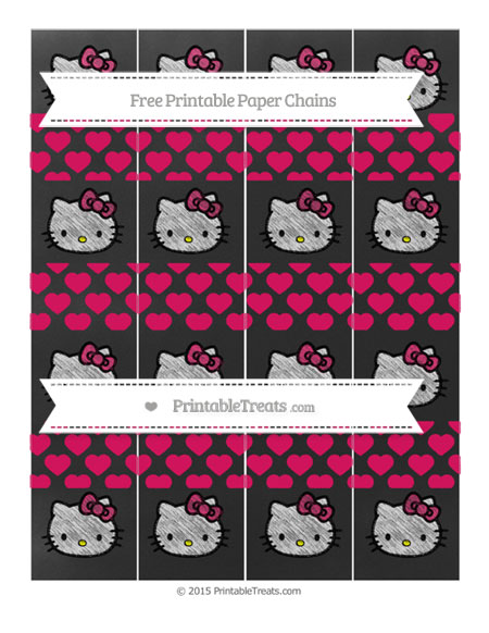 Free Ruby Pink Heart Pattern Chalk Style Hello Kitty Paper Chains
