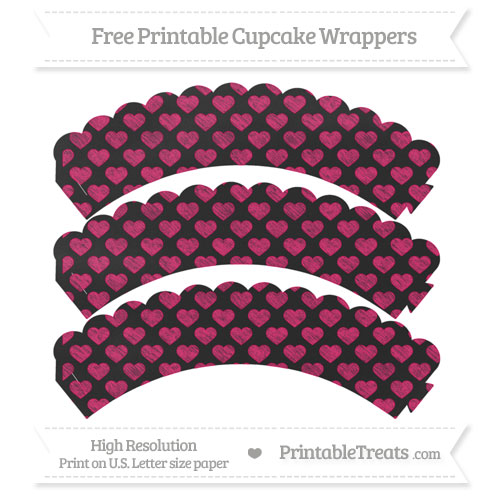 Free Ruby Pink Heart Pattern Chalk Style Scalloped Cupcake Wrappers