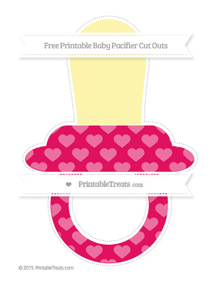 Free Ruby Pink Heart Pattern Extra Large Baby Pacifier Cut Outs
