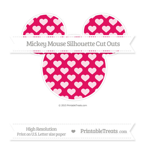 Free Ruby Pink Heart Pattern Extra Large Mickey Mouse Silhouette Cut Outs