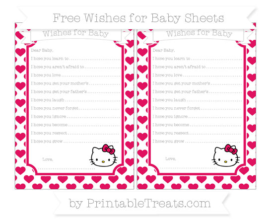 Free Ruby Pink Heart Pattern Hello Kitty Wishes for Baby Sheets