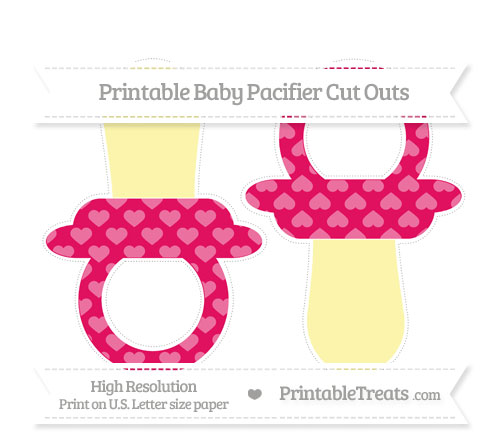 Free Ruby Pink Heart Pattern Large Baby Pacifier Cut Outs