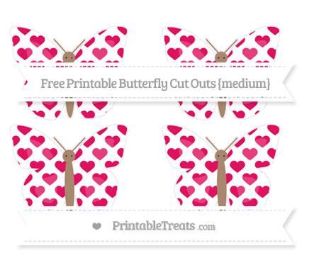 Free Ruby Pink Heart Pattern Medium Butterfly Cut Outs