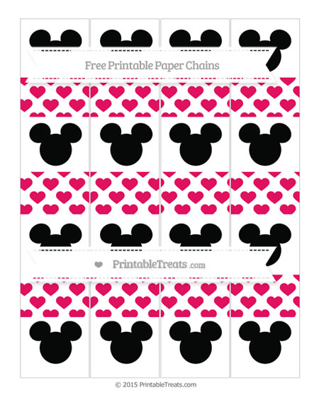 Free Ruby Pink Heart Pattern Mickey Mouse Paper Chains
