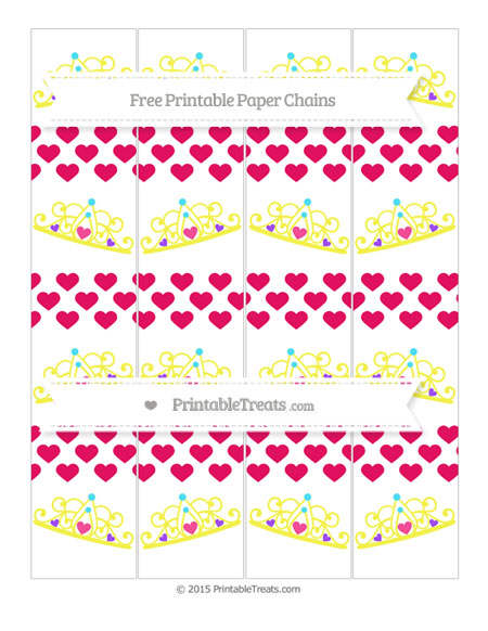 Free Ruby Pink Heart Pattern Princess Tiara Paper Chains