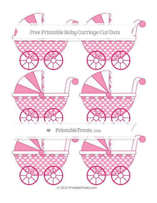 Free Ruby Pink Heart Pattern Small Baby Carriage Cut Outs