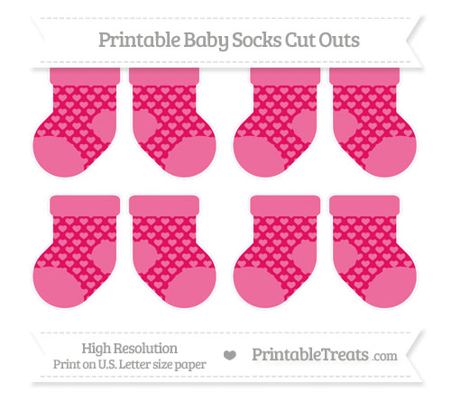 Free Ruby Pink Heart Pattern Small Baby Socks Cut Outs