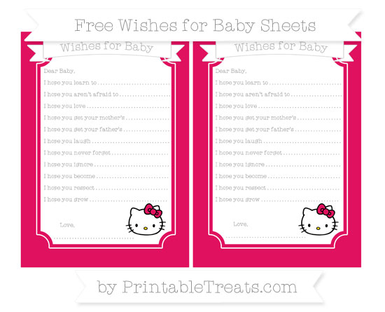 Free Ruby Pink Hello Kitty Wishes for Baby Sheets