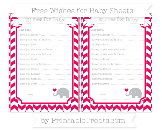 Free Ruby Pink Herringbone Pattern Baby Elephant Wishes for Baby Sheets