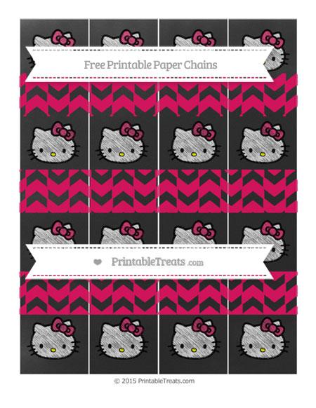 Free Ruby Pink Herringbone Pattern Chalk Style Hello Kitty Paper Chains