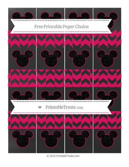 Free Ruby Pink Herringbone Pattern Chalk Style Mickey Mouse Paper Chains
