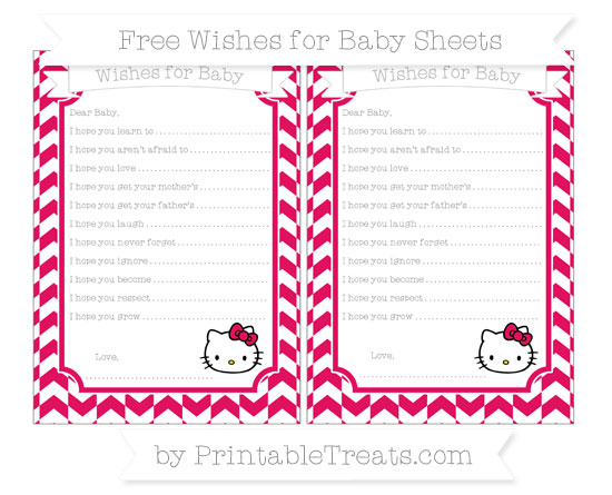 Free Ruby Pink Herringbone Pattern Hello Kitty Wishes for Baby Sheets