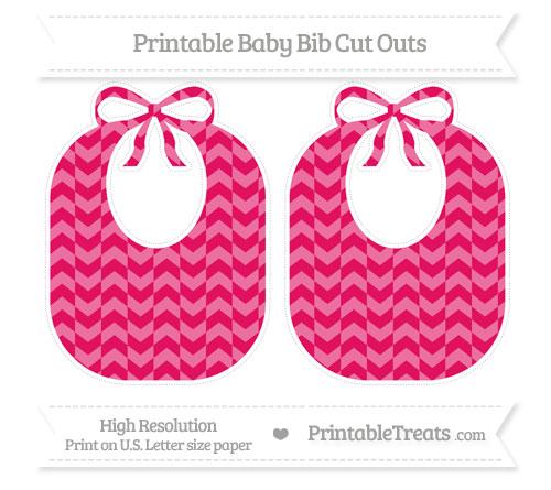 Free Ruby Pink Herringbone Pattern Large Baby Bib Cut Outs