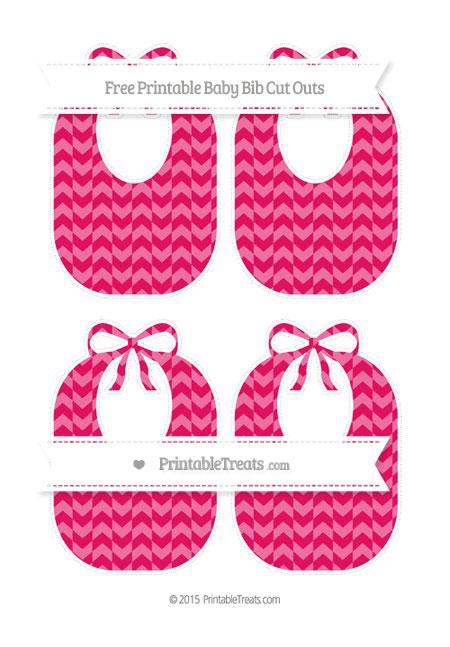 Free Ruby Pink Herringbone Pattern Medium Baby Bib Cut Outs