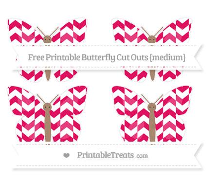 Free Ruby Pink Herringbone Pattern Medium Butterfly Cut Outs