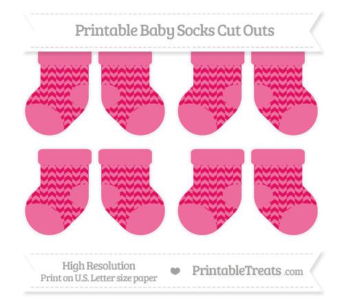 Free Ruby Pink Herringbone Pattern Small Baby Socks Cut Outs