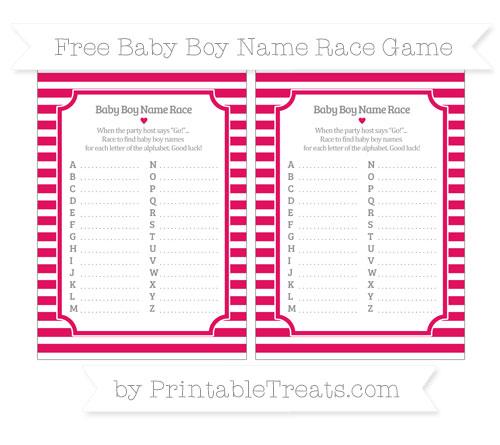 Free Ruby Pink Horizontal Striped Baby Boy Name Race Game