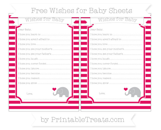 Free Ruby Pink Horizontal Striped Baby Elephant Wishes for Baby Sheets
