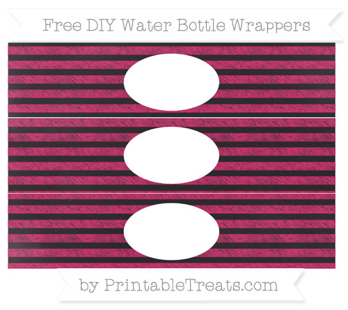 Free Ruby Pink Horizontal Striped Chalk Style DIY Water Bottle Wrappers