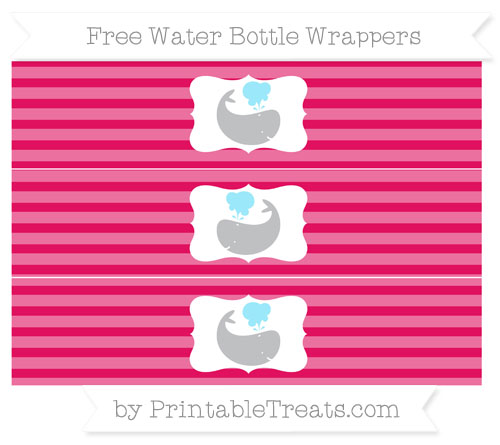 Free Ruby Pink Horizontal Striped Whale Water Bottle Wrappers