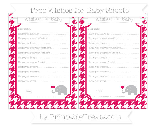 Free Ruby Pink Houndstooth Pattern Baby Elephant Wishes for Baby Sheets