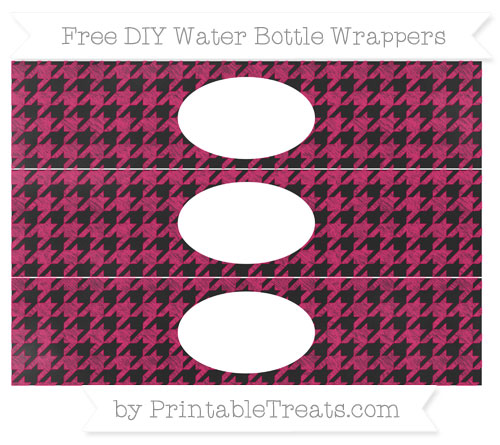 Free Ruby Pink Houndstooth Pattern Chalk Style DIY Water Bottle Wrappers