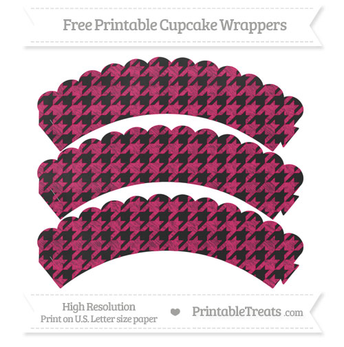 Free Ruby Pink Houndstooth Pattern Chalk Style Scalloped Cupcake Wrappers