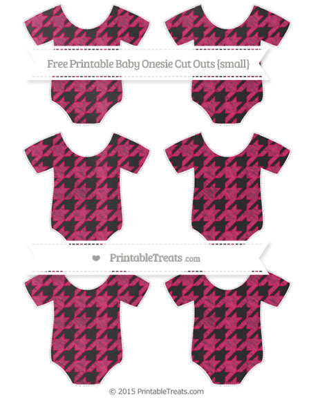 Free Ruby Pink Houndstooth Pattern Chalk Style Small Baby Onesie Cut Outs