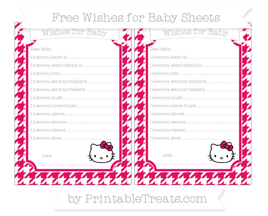 Free Ruby Pink Houndstooth Pattern Hello Kitty Wishes for Baby Sheets