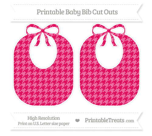 Free Ruby Pink Houndstooth Pattern Large Baby Bib Cut Outs