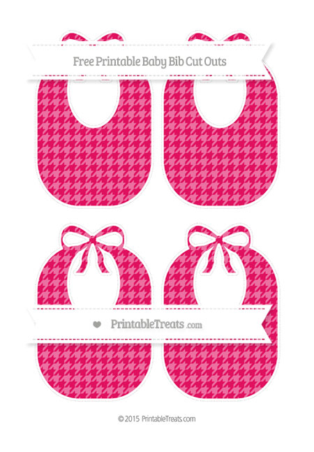 Free Ruby Pink Houndstooth Pattern Medium Baby Bib Cut Outs
