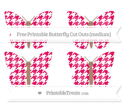 Free Ruby Pink Houndstooth Pattern Medium Butterfly Cut Outs
