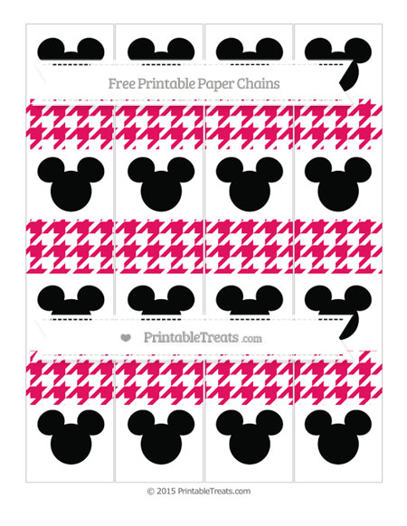 Free Ruby Pink Houndstooth Pattern Mickey Mouse Paper Chains