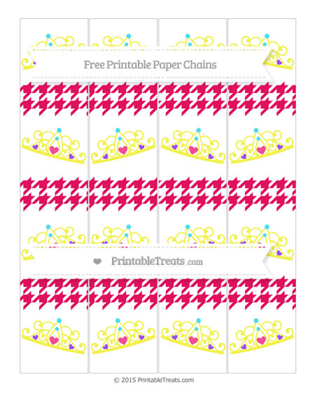 Free Ruby Pink Houndstooth Pattern Princess Tiara Paper Chains