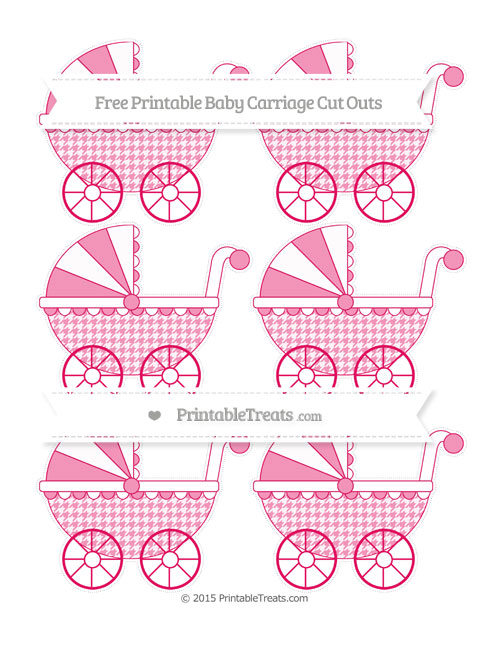 Free Ruby Pink Houndstooth Pattern Small Baby Carriage Cut Outs