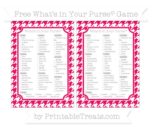 Free Ruby Pink Houndstooth Pattern What's in Your Purse Baby Shower Game