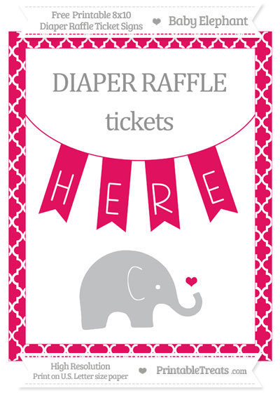 Free Ruby Pink Moroccan Tile Baby Elephant 8x10 Diaper Raffle Ticket Sign