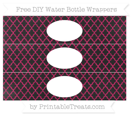 Free Ruby Pink Moroccan Tile Chalk Style DIY Water Bottle Wrappers