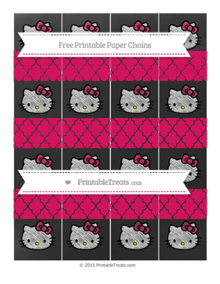 Free Ruby Pink Moroccan Tile Chalk Style Hello Kitty Paper Chains